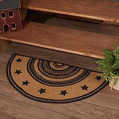 Farmhouse Jute Rug Half Circle Stencil Stars Border w/ Pad 16.5x33