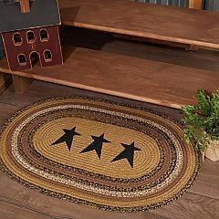Kettle Grove Jute Rug Oval Stencil Stars w/ Pad 24x36