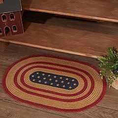 Liberty Stars Flag Jute Rug Oval w/ Pad 20x30