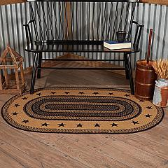 Farmhouse Jute Rug Oval Stencil Stars Border w/ Pad 36x60
