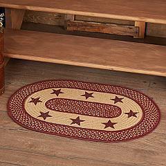 Burgundy Red Primitive Jute Rug Oval Stencil Stars w/ Pad 20x30