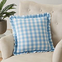 Annie Buffalo Blue Check Ruffled Fabric Pillow 18x18