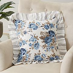 Annie Blue Floral Ruffled Pillow 18x18