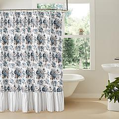 Annie Blue Floral Ruffled Shower Curtain 72x72