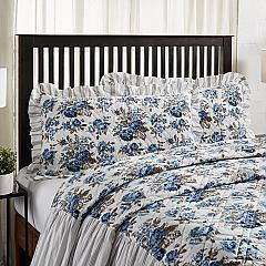 Annie Blue Floral Ruffled King Sham 21x37