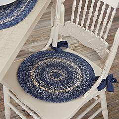 Great Falls Blue Jute Chair Pad