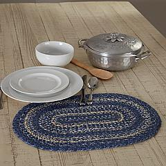 Great Falls Blue Jute Oval Placemat 12x18