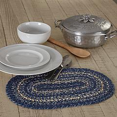 Great Falls Blue Jute Oval Placemat 10x15