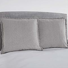Burlap Dove Grey Fabric Euro Sham w/ Fringed Ruffle 26x26