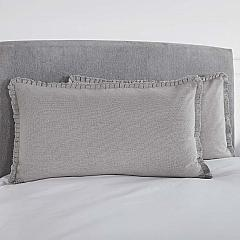 Burlap Dove Grey King Sham w/ Fringed Ruffle 21x37