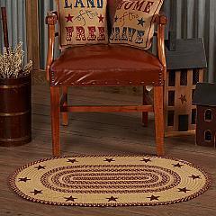 Burgundy Tan Jute Rug Oval Stencil Stars w/ Pad 24x36