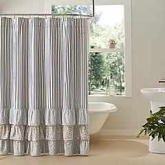Kaila Ticking Stripe Ruffled Shower Curtain 72x72