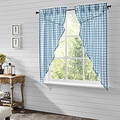 Annie Buffalo Blue Check Prairie Short Panel Set of 2 63x36x18