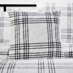 Black Plaid Fabric Pillow Cover 18x18