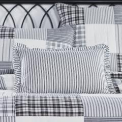 Sawyer Mill Black Ruffled Ticking Stripe Pillow 14x22