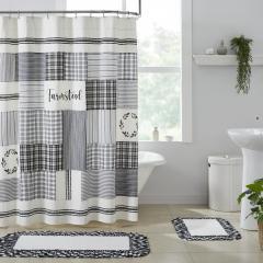 Sawyer Mill Black Stenciled Patchwork Shower Curtain 72x72