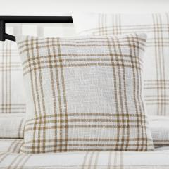 Wheat Plaid Fabric Pillow 18x18