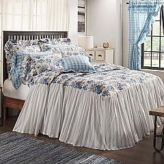 Annie Blue Floral Ruffled California King Coverlet 84x72+27