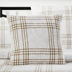Wheat Plaid Fabric Pillow Cover 18x18