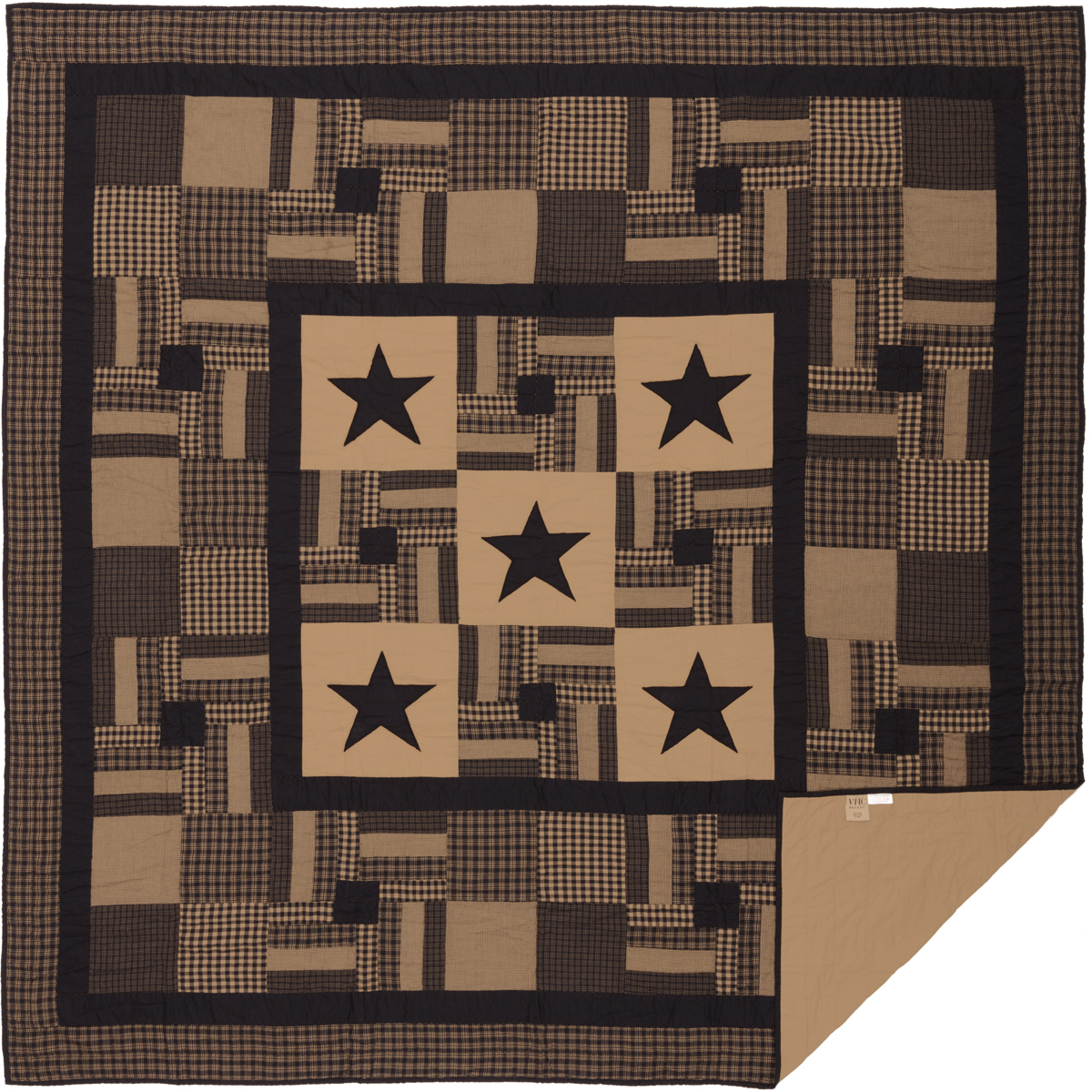 Black-Check-Star-Queen-Quilt-90Wx90L-image-2