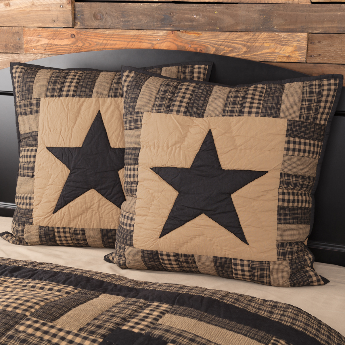 Black-Check-Star-Quilted-Euro-Sham-26x26-image-1