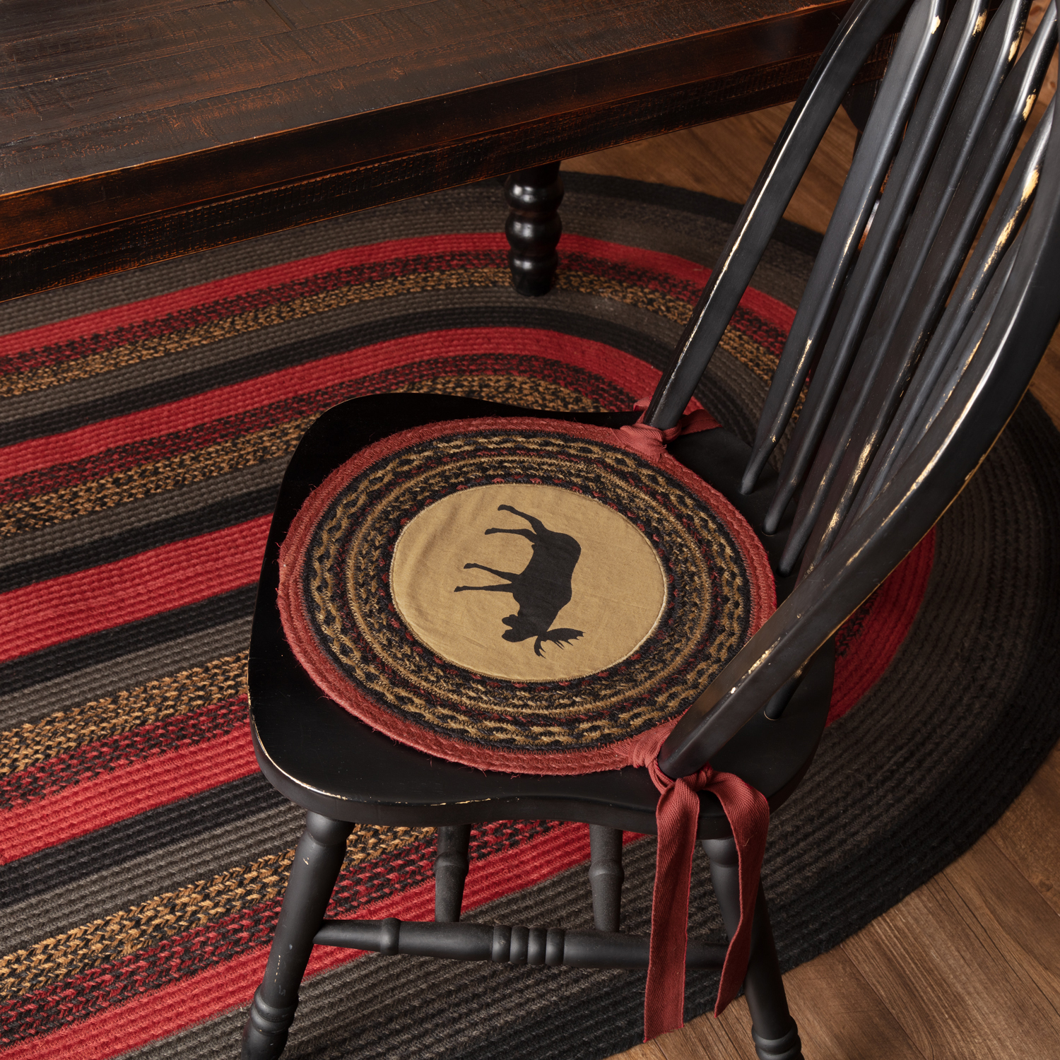 Cumberland-Moose-Applique-Jute-Chair-Pad-Set-of-6-image-1